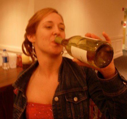Drinking at my sister's wedding, photo credit Susannah Prinz